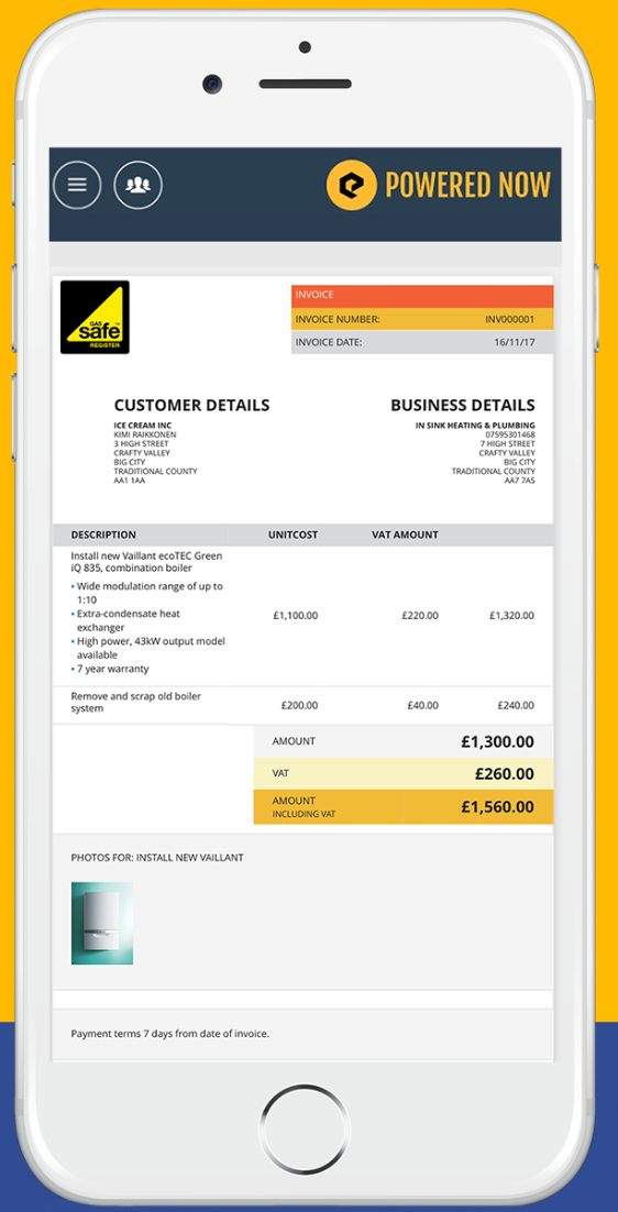 Create and send invoices to customers via email or text message