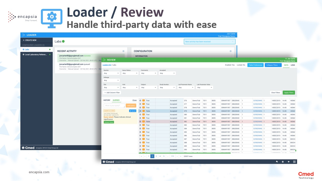 Encapsia Loader and Review: Cut the time needed to upload, validate and review third party data