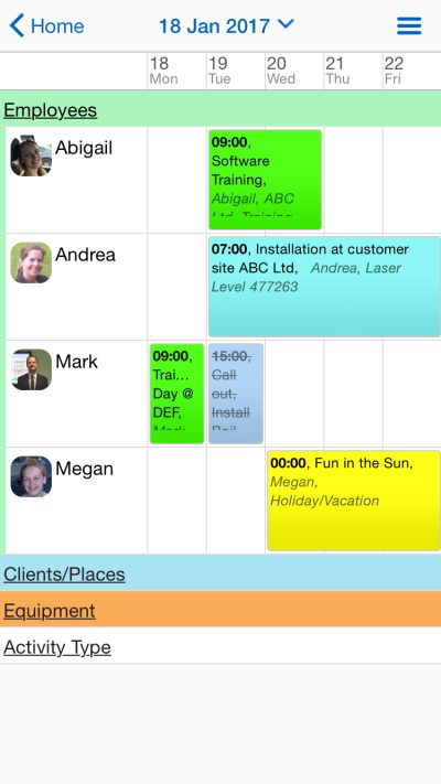 Employees, clients, equipment, and other activities can be scheduled in Schedule It