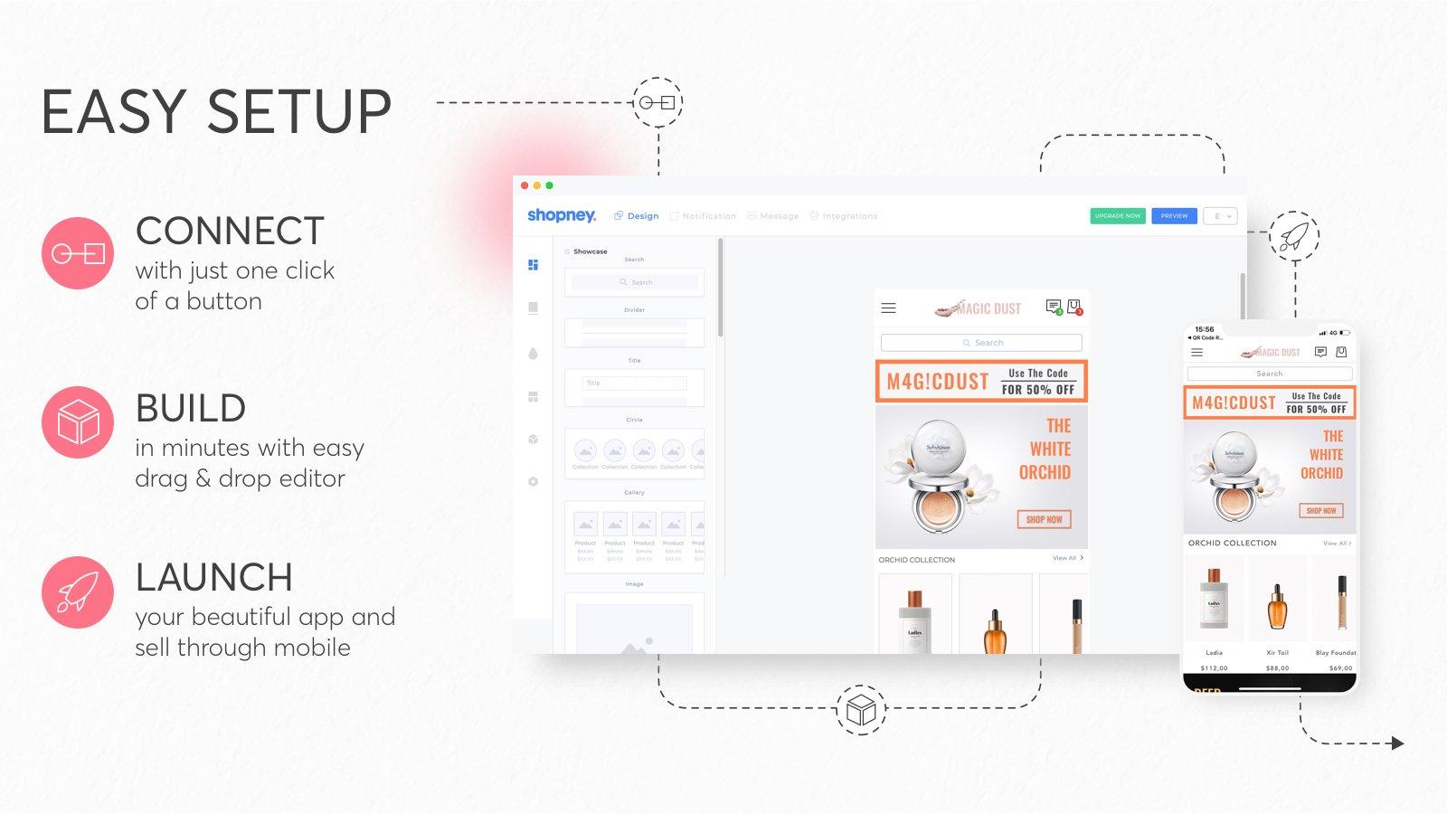 Shopney no code mobile app builder