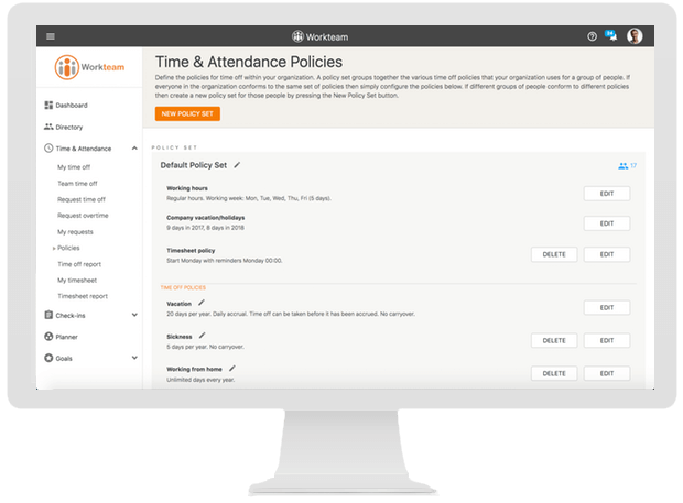 Configurable policies that you can assign to different groups of staff.