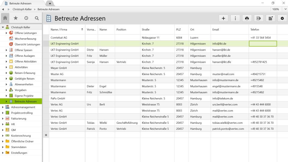 Vertec address management