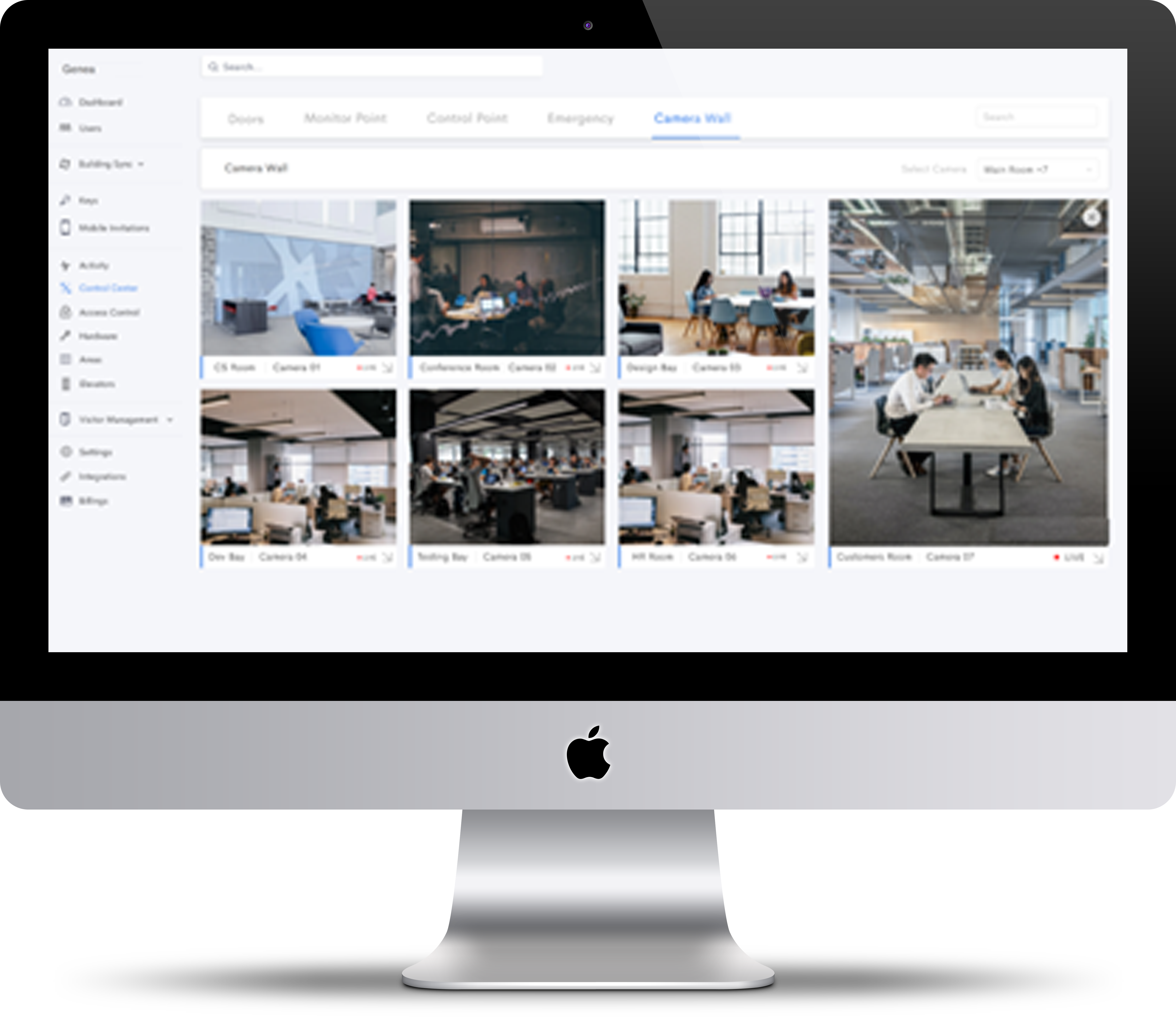 Genea's integrations with cloud-based video management software allows multiple video feeds to be managed on one cohesive dashboard.