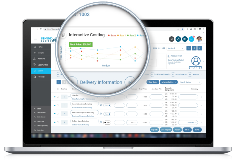 Interactive Costing - Manufacturing X Sales Platform by In Mind Cloud