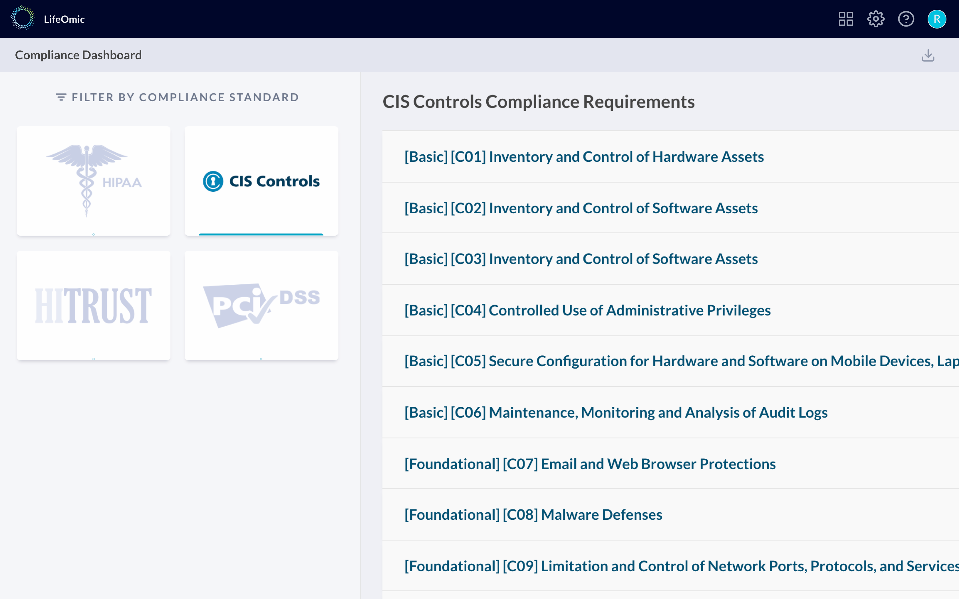 Track compliance with various security frameworks and controls in real time.