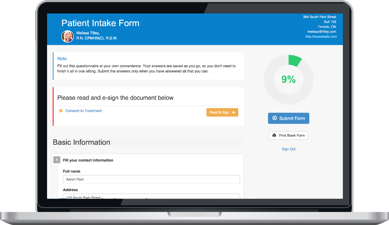 IntakeQ customizable customer intake form template