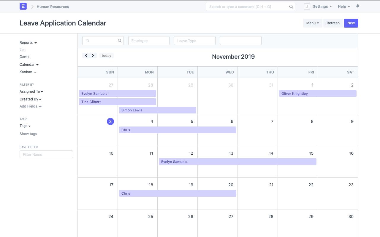 ERPNext Leave Management Calendar