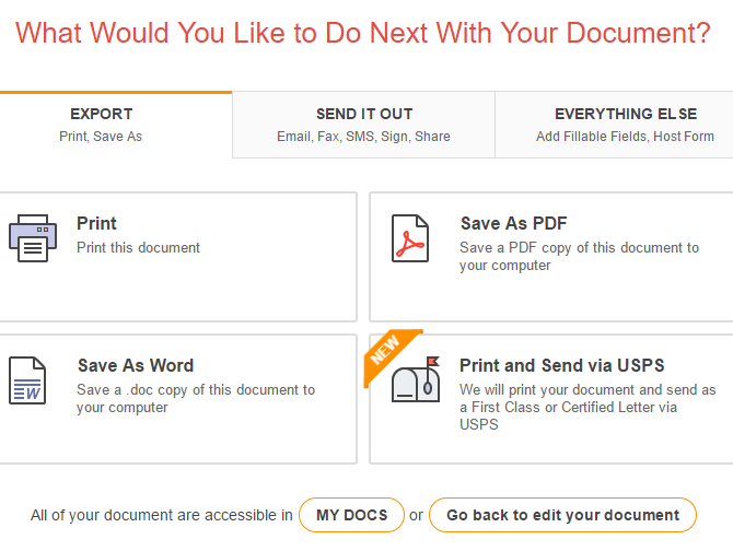 Documents can be shared, exported, or saved for later