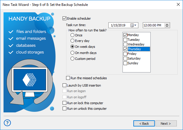 Handy Backup backup scheduling