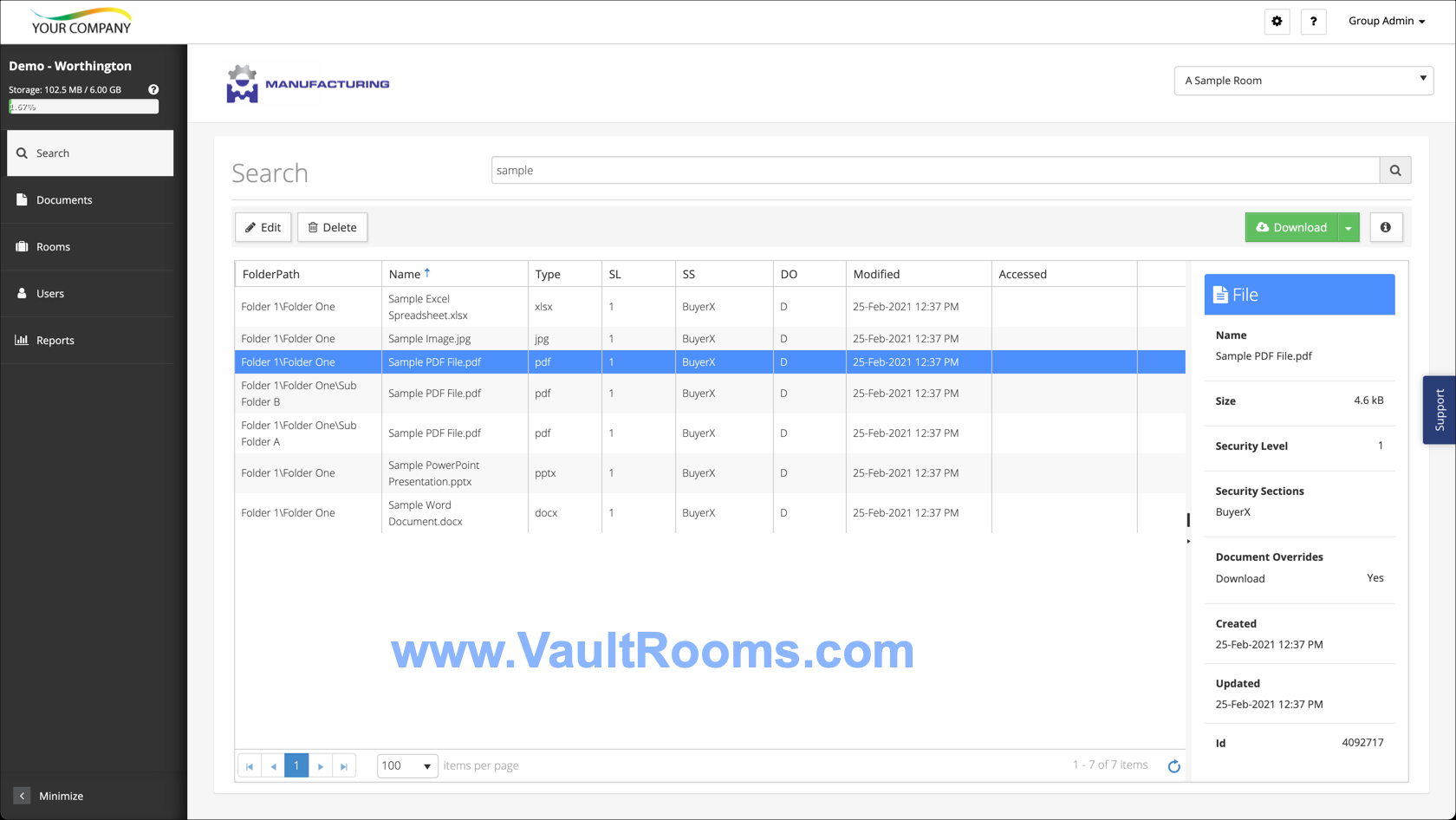 Vault Rooms Search Screen
