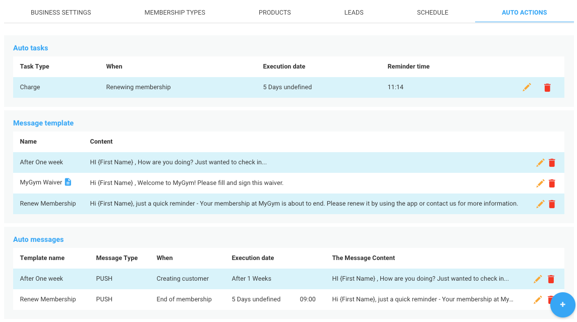Arbox automation settings screenshot
