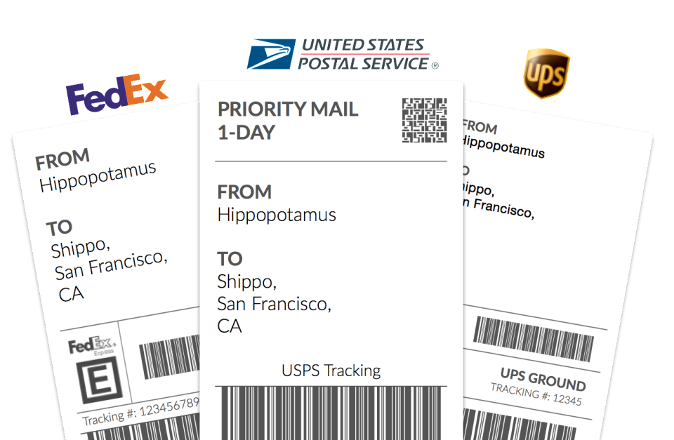 Shipping labels can be printed directly from within Shippo