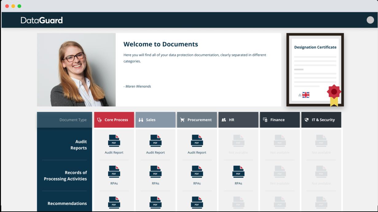 DataGuard documentation dashboard