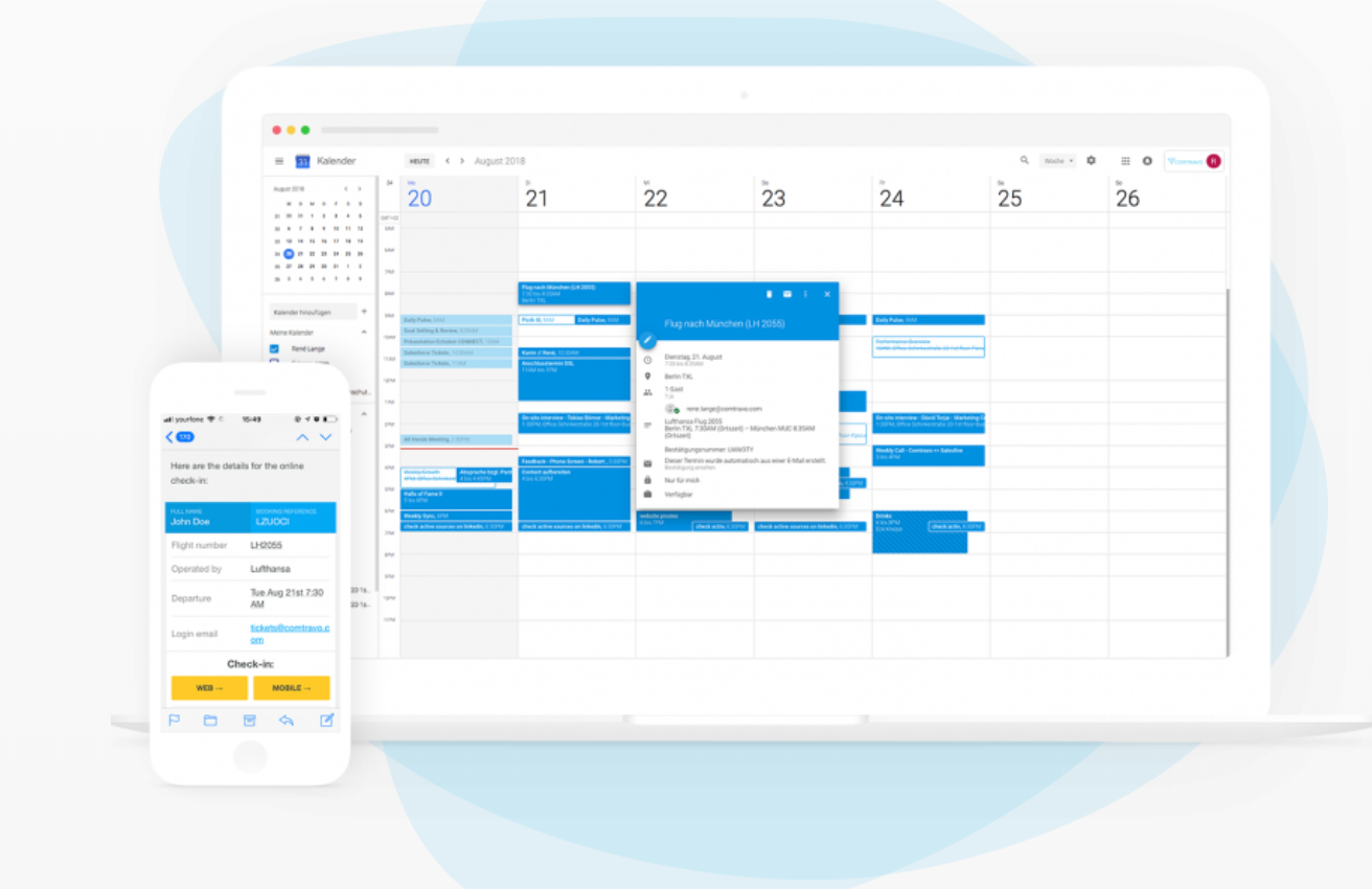 Get travel itineraries and calendar entries as soon as the trip is booked
