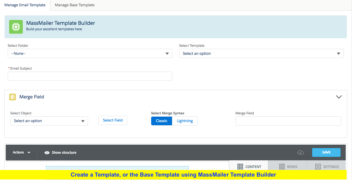MassMailer drag and drop email template builder