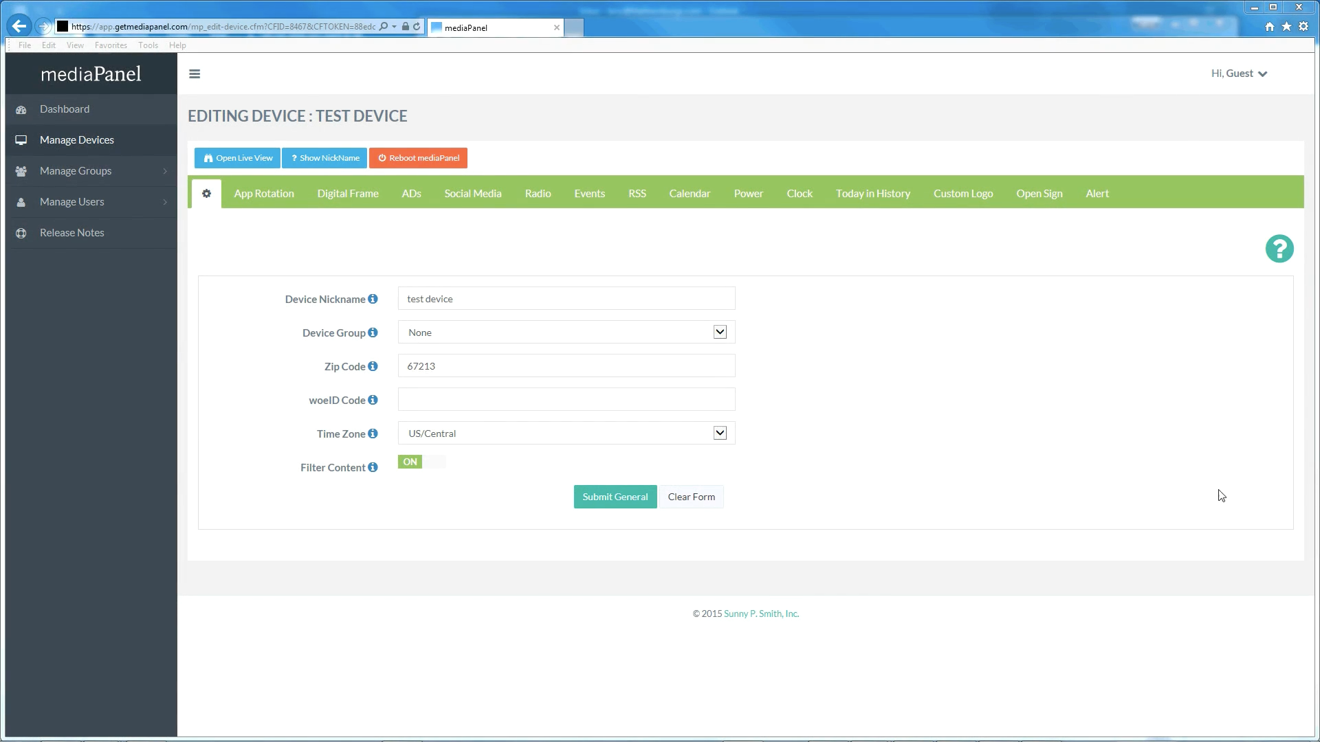 Configure all applications for each device including ads, social media, events, RSS and more