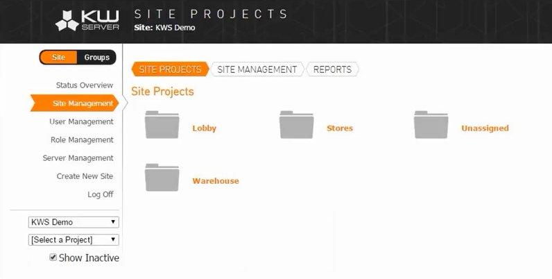 KioCloud site management view