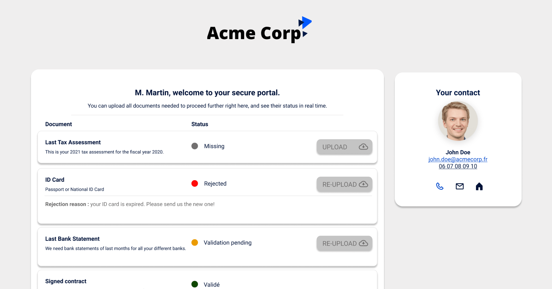 Branded portal example for your contacts