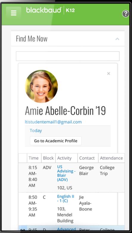 Blackbaud Student Information System academic profile