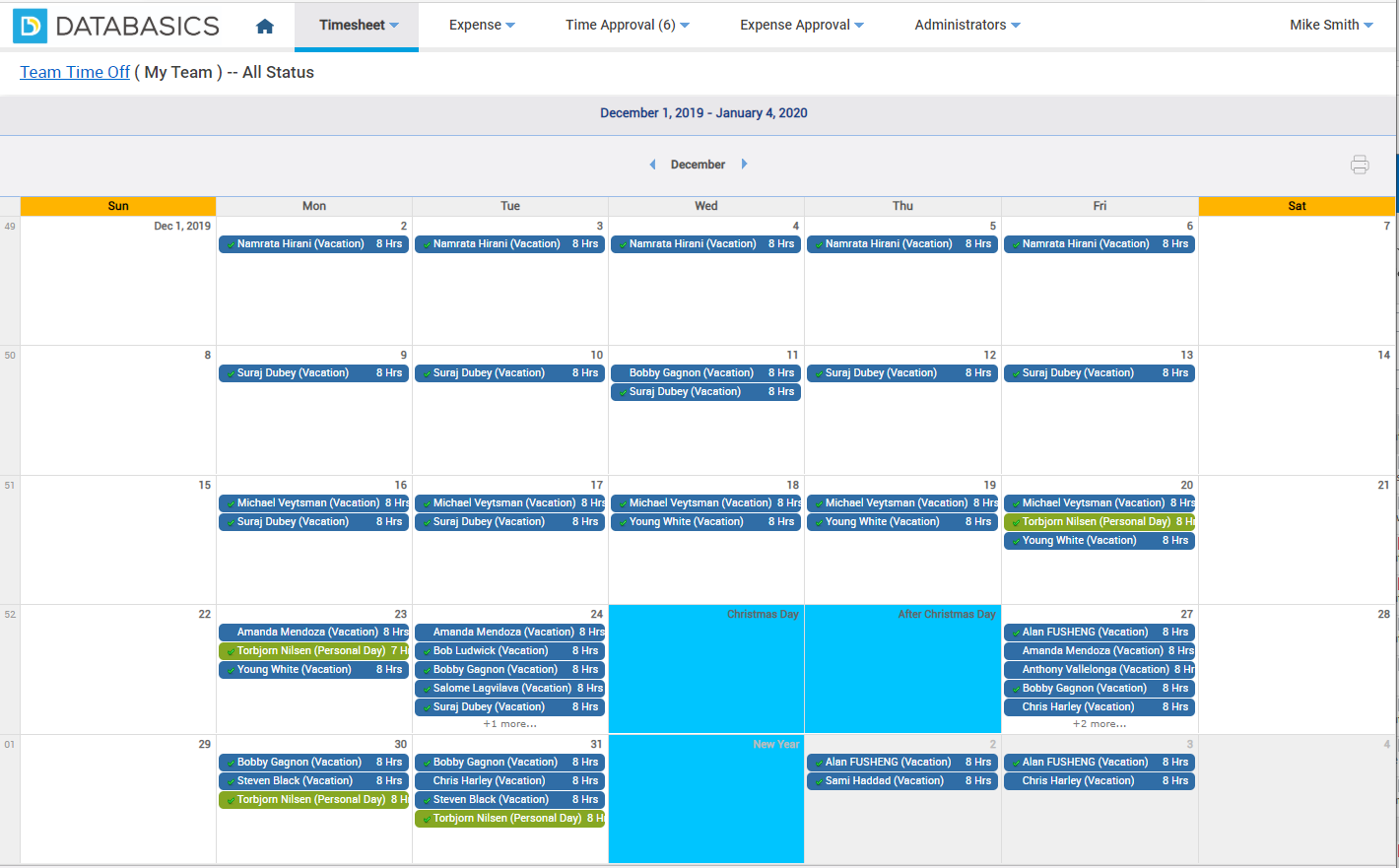 Track time off for your entire team in one calendar