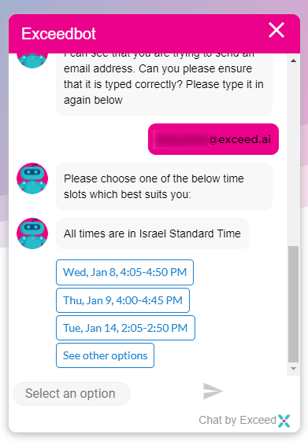 Exceed.ai screenshot: Book meetings for your sales team through a chatbot, 24 hours a day, 7 days a week