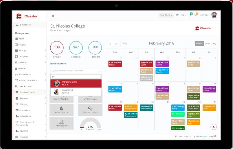 Classter Software - Classter dashboard screenshot