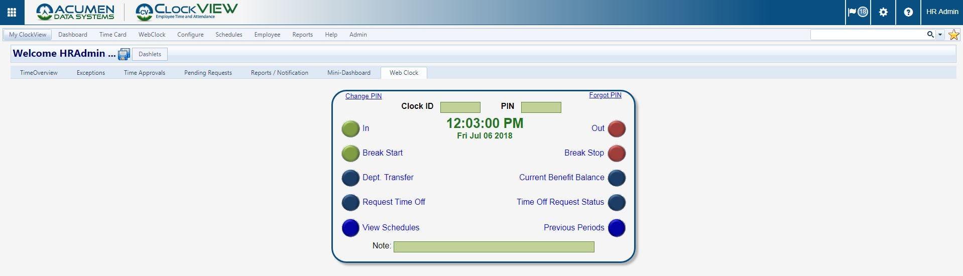 ClockVIEW Software - ClockVIEW web clock