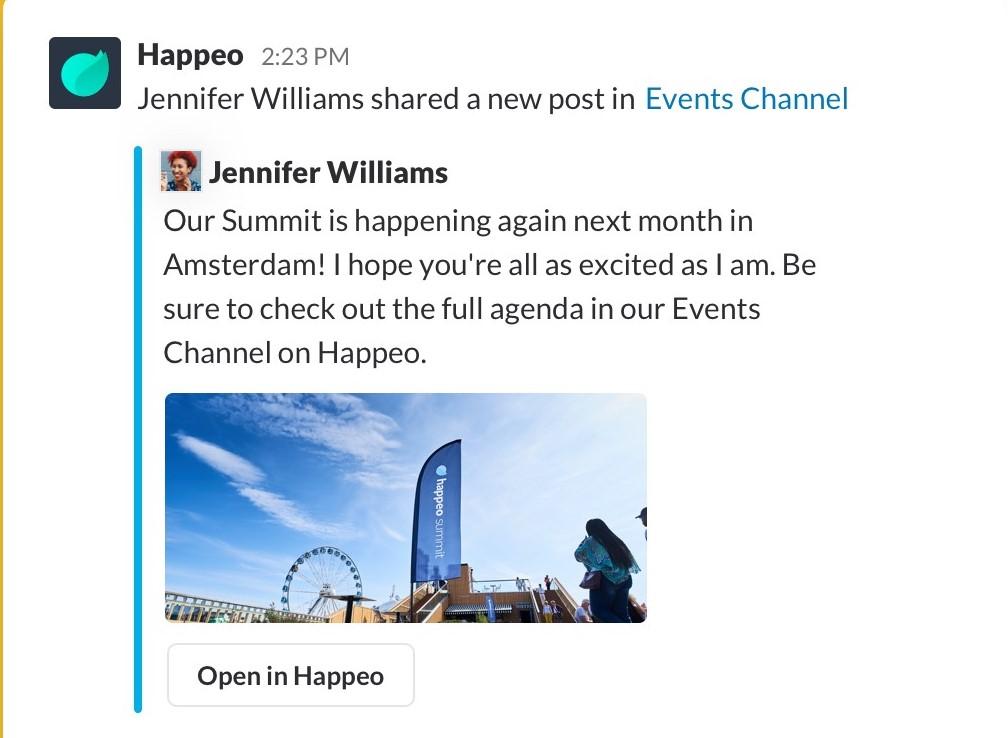 Happeo Slack integration screenshot