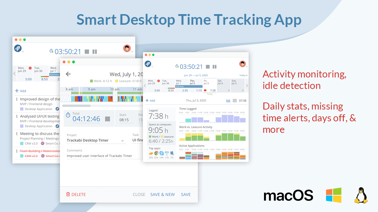 Desktop Timer Application for Windows, Linux, & macOS: The app can track time based on user activity. It can automatically launch and stop the timer, differentiate work and leisure activities, and provides excellent daily reports.