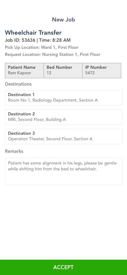 Porter App - New Job Screen