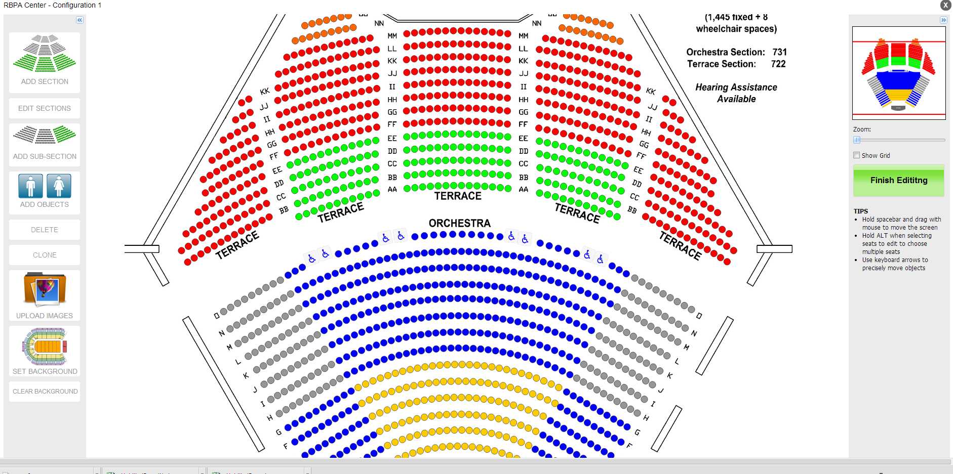 Graphically driven assigned seating
