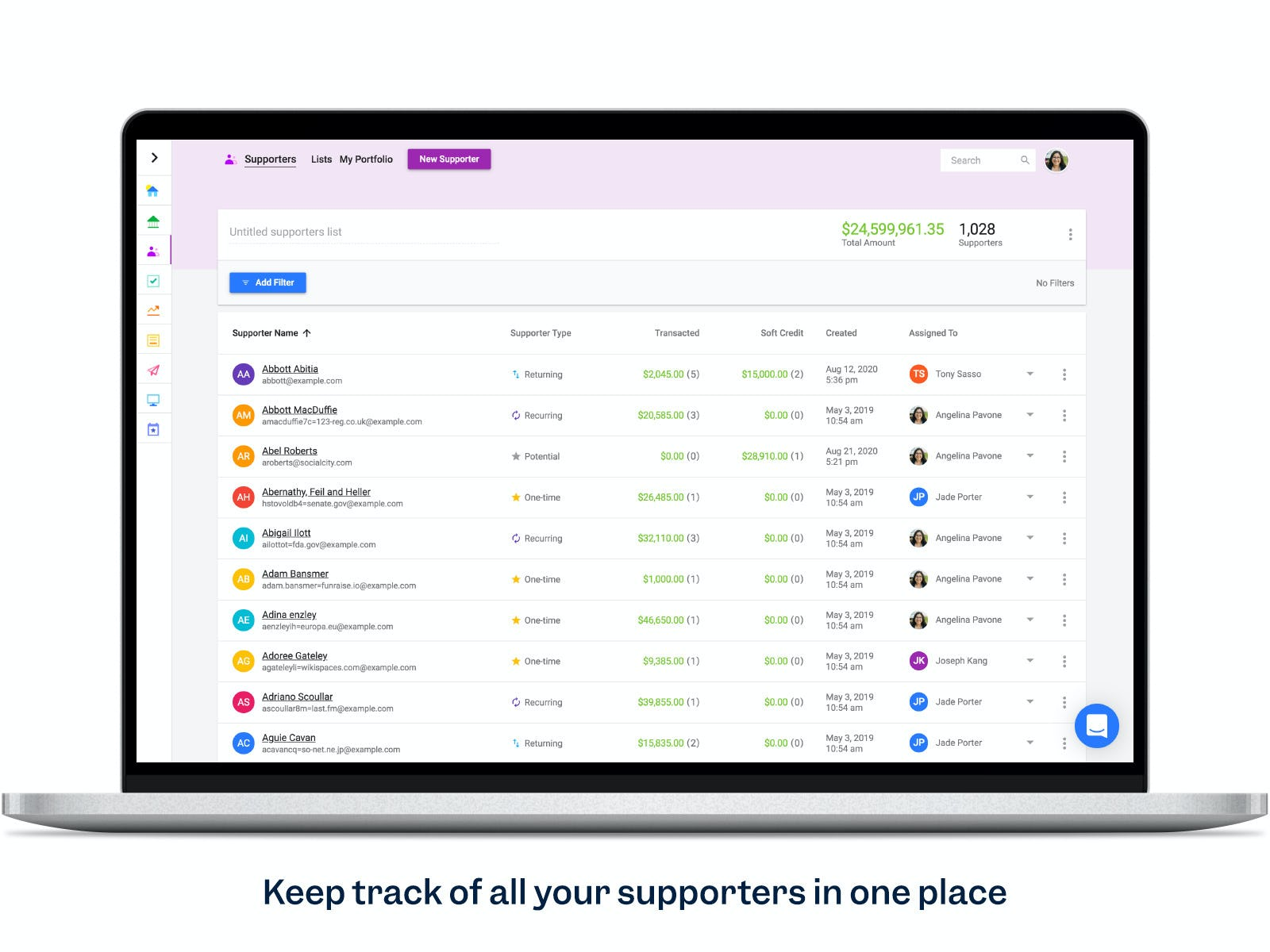 Funraise Software - Track supporters in a CRM