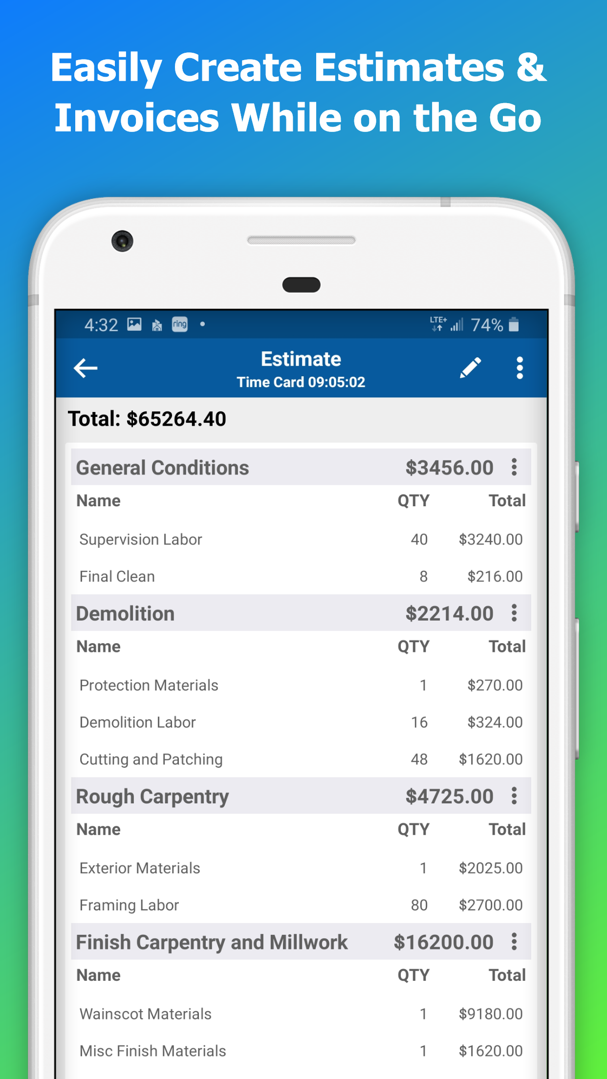Need to generate a bid or invoice in a hurry while in the field - not a problem!  It just takes a couple minutes to create a new one and get it submitted to your client.