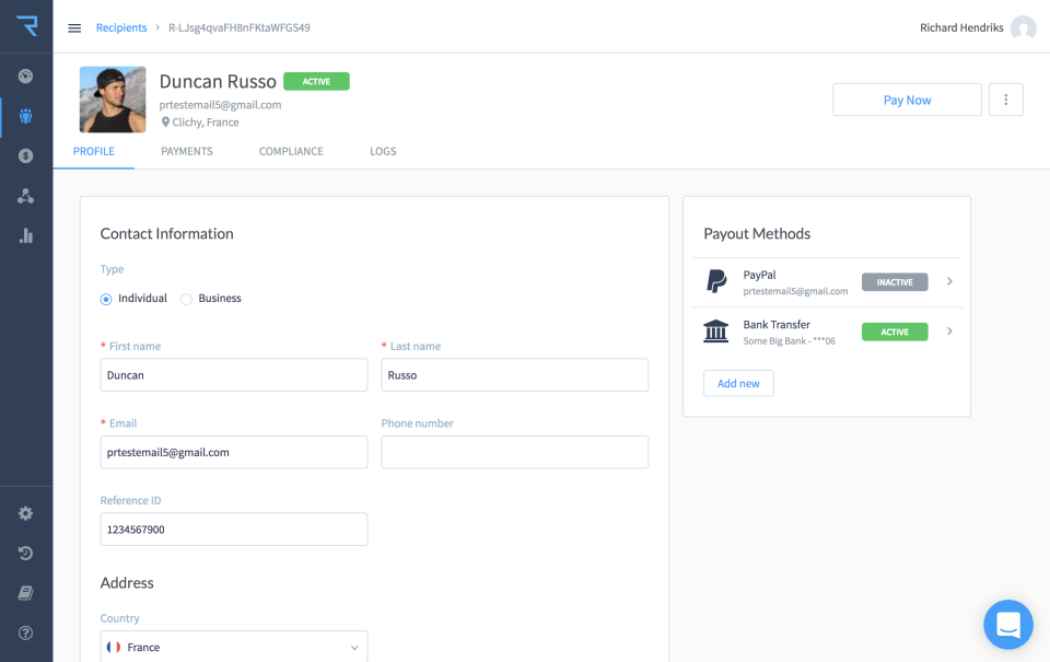 Create recipient profiles including payment and compliance information