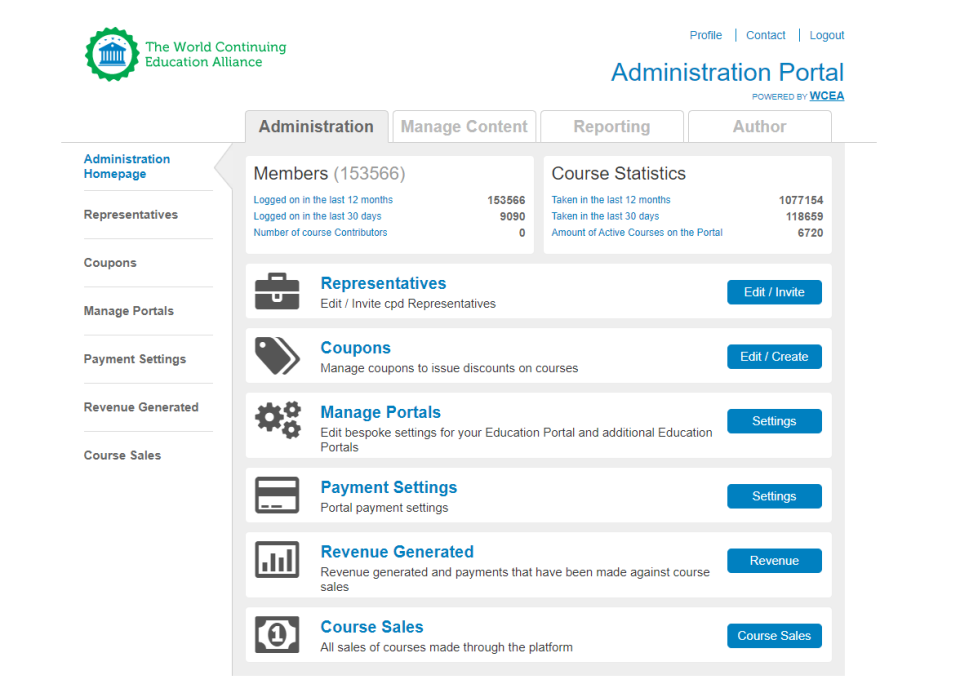 WCEA Software - WCEA administration homepage