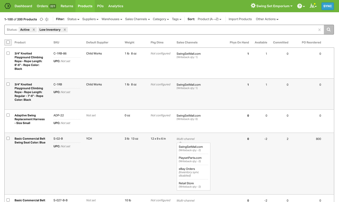 Manage all of your inventory (across ALL of your sales channels) on the Products page