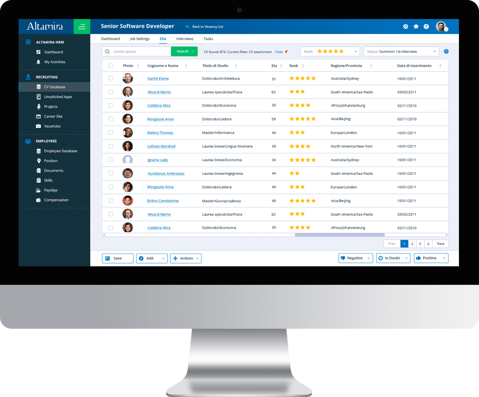 Altamira Recruiting screenshot: Altamira Recruiting CV database