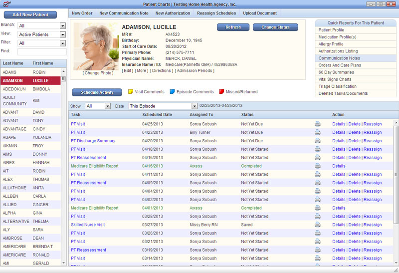 Clinicians using AgencyCore can easily access patient charts that include a photo, basic information, notes and schedules.