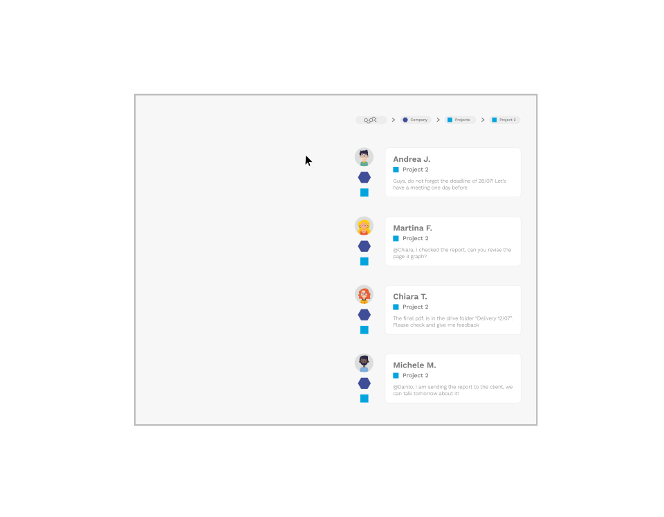 All the messages and the contents in a single channel, no multiple chats anymore.