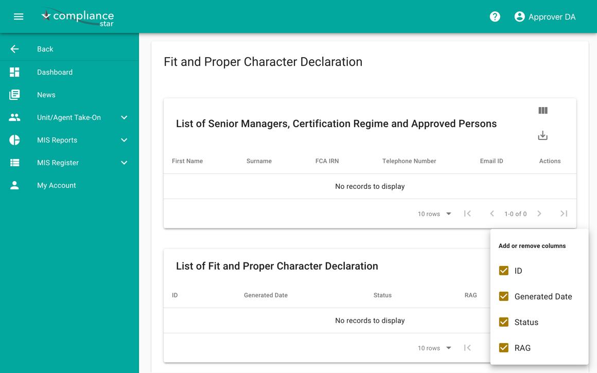 Compliance Star character declaration