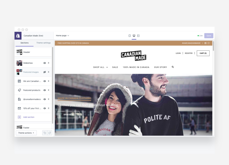 Leverage conversion-tested themes with a fully customizable front-end through Liquid, HTML, CSS, and JavaScript