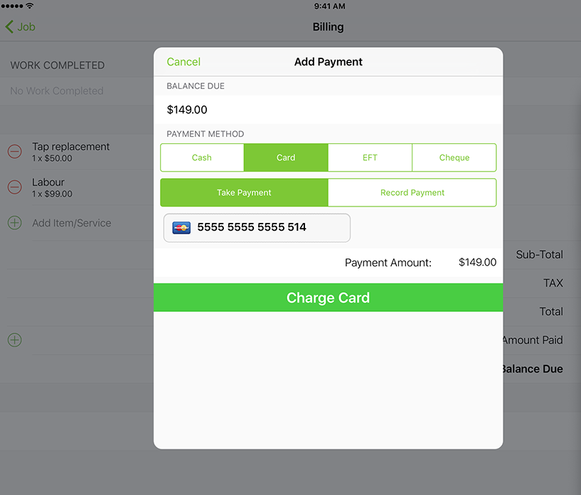 ServiceM8 Software - Add payment