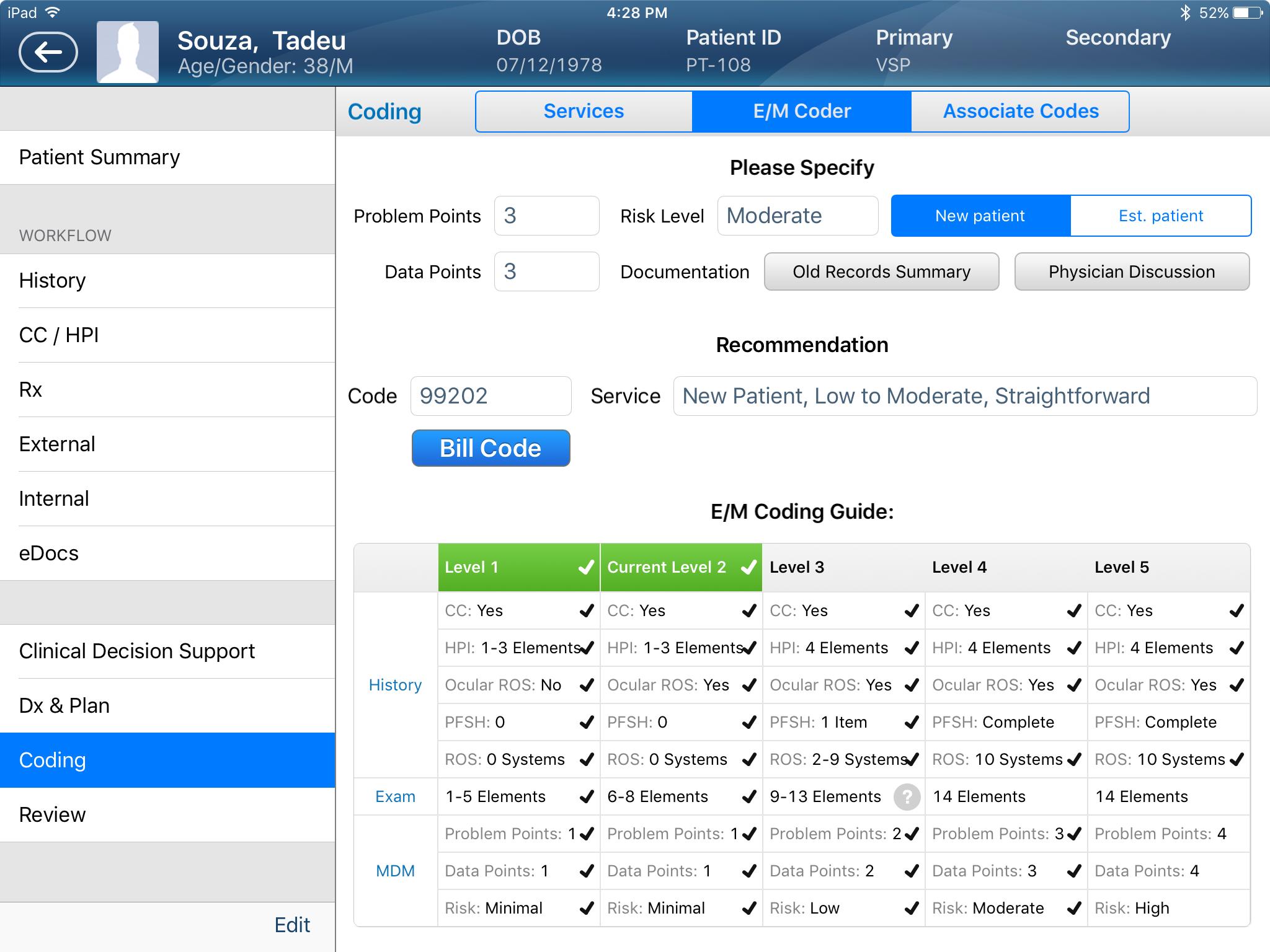EyePegasusEHR Software - E/M Coding