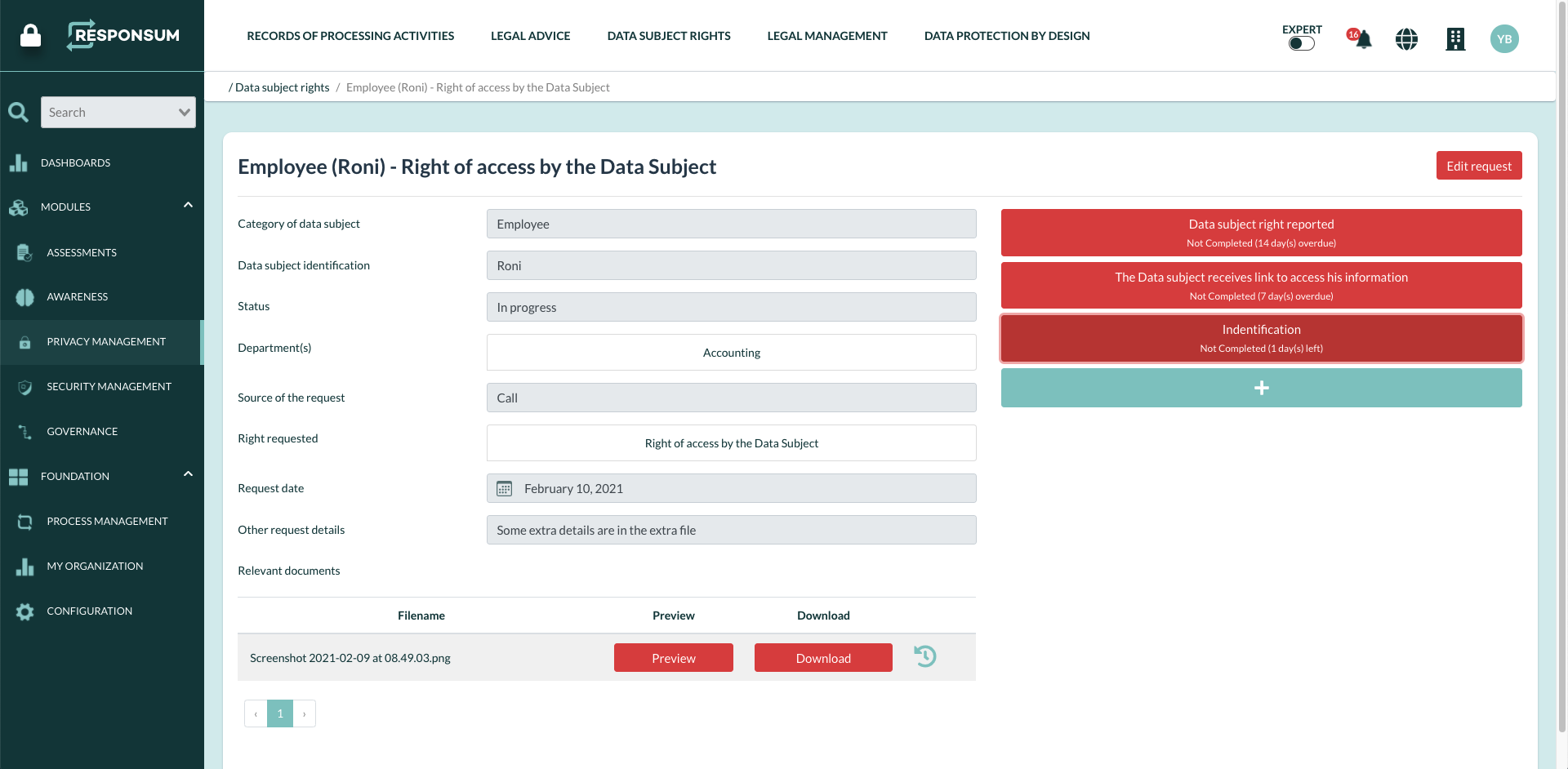 RESPONSUM data subject rights requests
