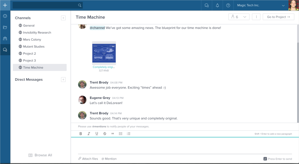 Built-in chat allows users to chat with individual team members, groups, or the entire organization