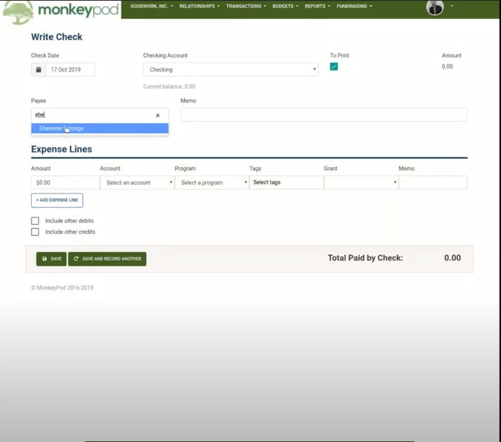 MonkeyPod write checks
