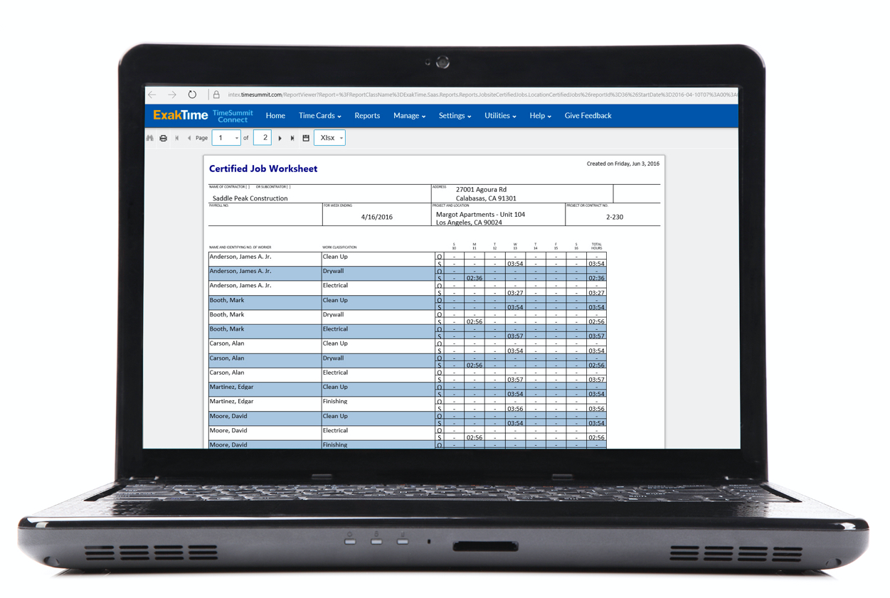 Payroll reporting includes a certified job worksheet that shows time and attendance for worksites
