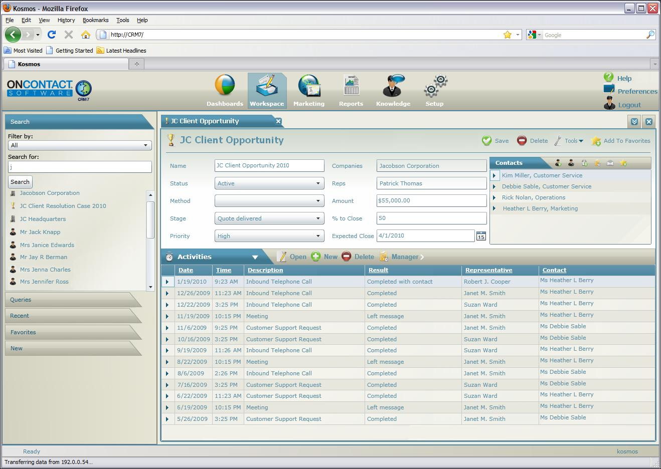 OnContact CRM 7 Software - Track opportunities