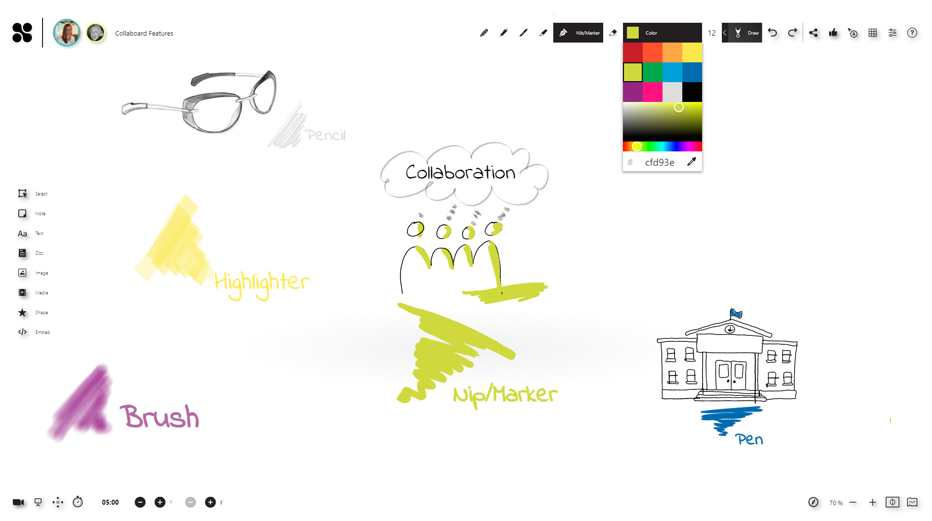 Smooth digital ink: You can draw using brushes, markers, pen, and pencil with your digital pen, e.g. from Microsoft, Wacom, and Apple. With this, analog handwriting is replaced.