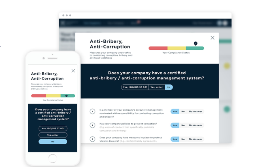 IntegrityNext screenshot: IntegrityNext automatically obtains relevant self-assessments from the suppliers to confirm their compliance with sustainability standards.